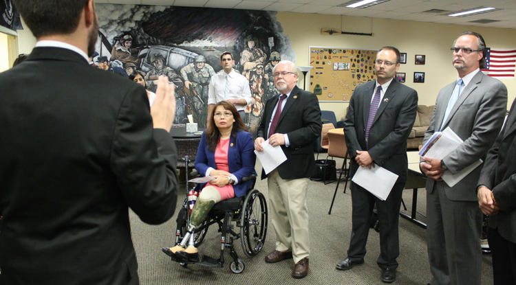 "U.S. Rep. Ron Barber invited congressional colleague U.S. Rep. Tammy Duckworth on a tour of the UA's center for student veterans. ""Congresswoman Duckworth is not only a trusted and respected member of Congress, she also brings her personal experiences as a veteran and a wounded warrior to our discussions on how best to serve our veterans. I am honored to have the opportunity to show her the excellent work the University of Arizona is doing to help veterans transition from a military career to student life,"" Barber said in a prepared statement. (Photo credit: Chris Sigurdson/UANews)"