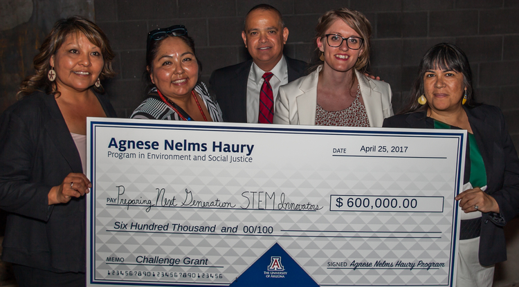 UA project leaders and community partners receive a $600,000 grant from the Agnese Nelms Haury Program in Environment and Social Justice to initiate project-based STEM learning in predominantly Hispanic and Native American schools. (Photo Credit: Matt Doolen)
