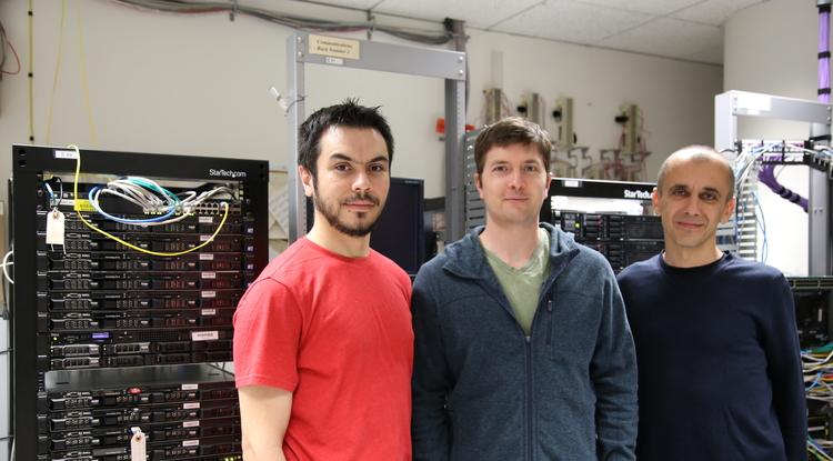 The Lum.AI team (from left): Marco Antonio Valenzuela-Escárcega, Gustave Hahn-Powell and Mihai Surdeanu. (Photo: Paul Tumarkin/Tech Launch Arizona)