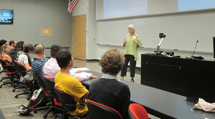 Carol Bender speaks during the orientation session for students in the UA's Undergraduate Biology Research Program, which she oversees. (Photo courtesy of Carol Bender)