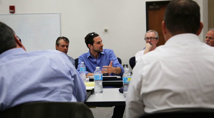 Ted Kraus, investment director at TechCode and a UA alumnus, joins in the discussion at a luncheon for Tech Launch Arizona commercialization partners. (Photo: Paul Tumarkin/Tech Launch Arizona)