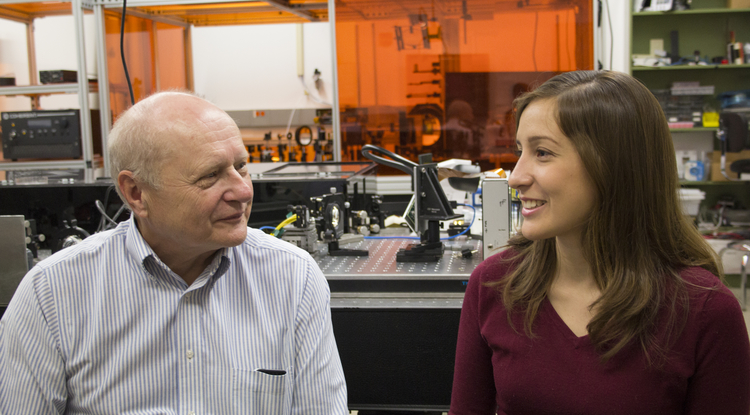 James C. Wyant with Maria Ruiz, a first-year graduate student at the College of Optical Sciences. She is the current recipient of the Louise Wyant Memorial Scholarship in Optical Sciences.