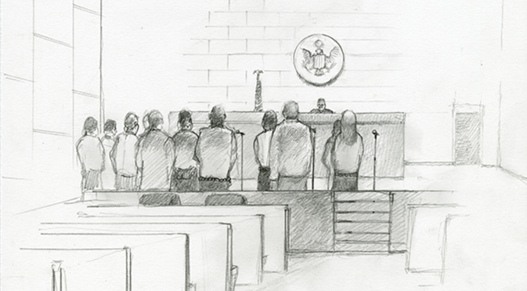 "UA faculty members have launched an innovative project, ""The Documented Border,"" detailing the everyday realities, threats and challenges faced by Mexican journalists and migrants. The project has resulted in a new digital archive, which includes sketches of migrants processed in accelerated Operation Streamline court proceedings, as photography is prohibited in federal court. (Illustration by Lawrence Gipe)"