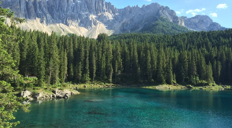 Students in the UA's new geosciences capstone class, Accessible Earth, will visit Lago di Carezza in the Dolomites of the Alps, South Tyrol, Italy. (Photo: Rick Bennett)