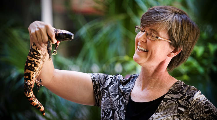 Dr. Leslie Boyer with a gila monster. (Photo by Jacob Chinn)
