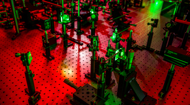 This experimental laser ultrasonic setup in collaborator Nick Boechler's lab will create phonons with nature-defying characteristics. (Image courtesy of Nicholas Boechler)
