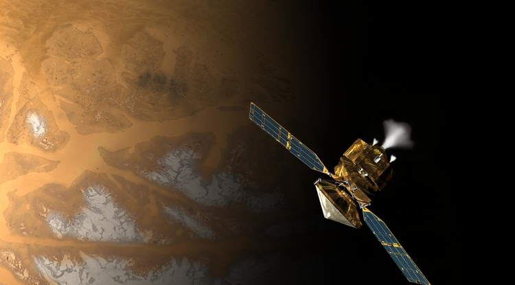 NASA's Mars Reconnaissance Orbiter shortly before swinging into orbit around Mars ten years ago. (NASA/JPL-Caltech)