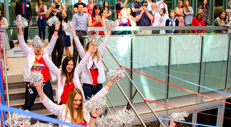 Amid a flash mob of student dancers, confetti and a surprise envelope drop, Phoenix graduates celebrate receiving their residency assignments. (Photo courtesy of the UA College of Medicine – Phoenix)