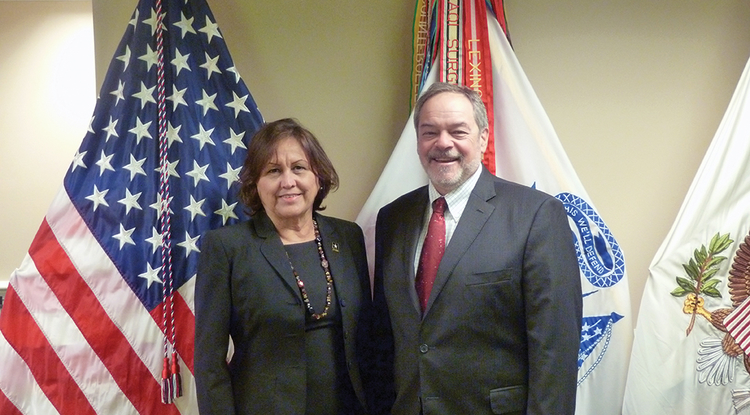 Mary Sally Matiella hosted Ronald W. Marx, the UA College of Education dean, at the Pentagon.