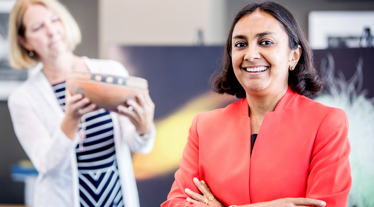 UA researchers Sudha Ram (right) and Barbara Mills (background) are leading an interdisciplinary National Science Foundation-funded project to synthesize archaeological data spanning several centuries of U.S history. (Photo: John de Dios/UANews)