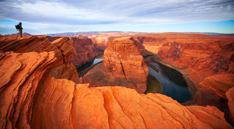 The Colorado River at Horseshoe Bend near Page, Arizona, five miles downstream from Glen Canyon Dam and Lake Powell