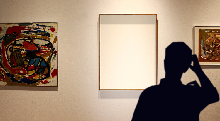 At the time of the 1985 theft, the de Kooning painting was centered on the wall between Karel Appel (left) and Hans Hofmann paintings. The guard discovered the empty frame as the thieves were pulling out of the parking lot. (Photo illustration by Emily Litvack and Bob Demers/UANews)