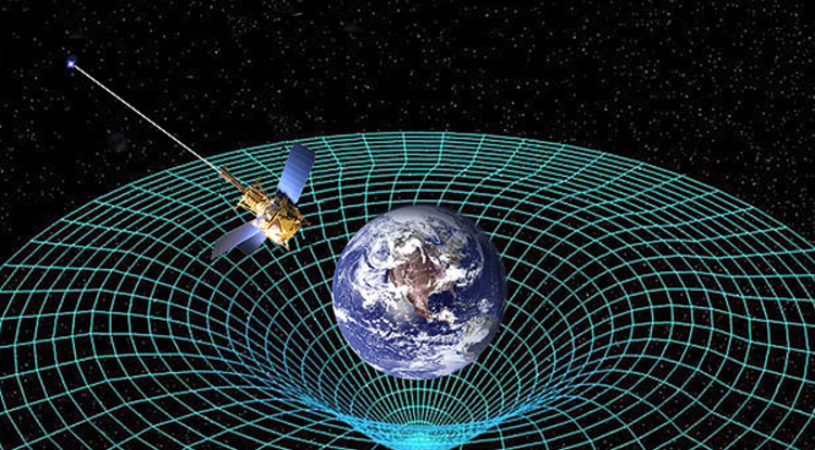 According to the Theory of General Relativity, objects curve the space around them. UA physicist Andrei Lebed has proposed an experiment using a space probe carrying hydrogen atoms to test his finding that the equation E=mc2 is correct in flat space, but not in curved space. (Illustration: NASA)