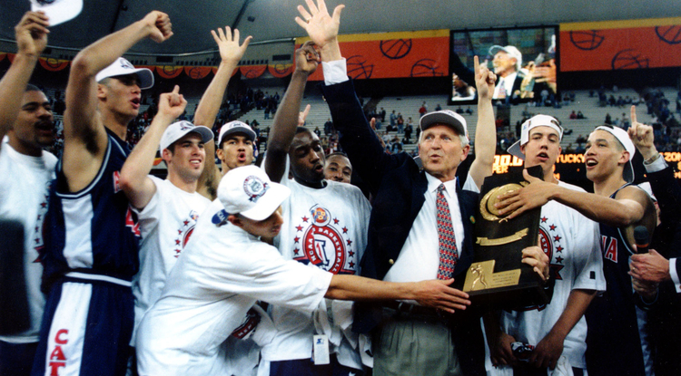 The UA men's basketball team won the national tournament in 1997. (Photo courtesy of Arizona Athletics)
