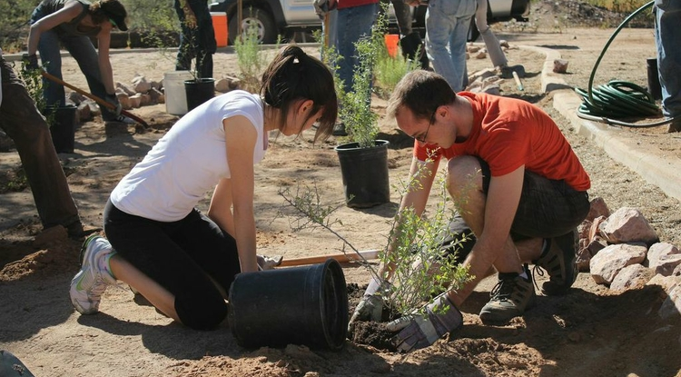 Tucson residents put their hands together to help with community enhancement projects funded by grants from Conserve2Enhance in 2013. C2E is funding 3 sustainability projects in Tucson in 2014. (Photo courtesy of Brittany Xiu)