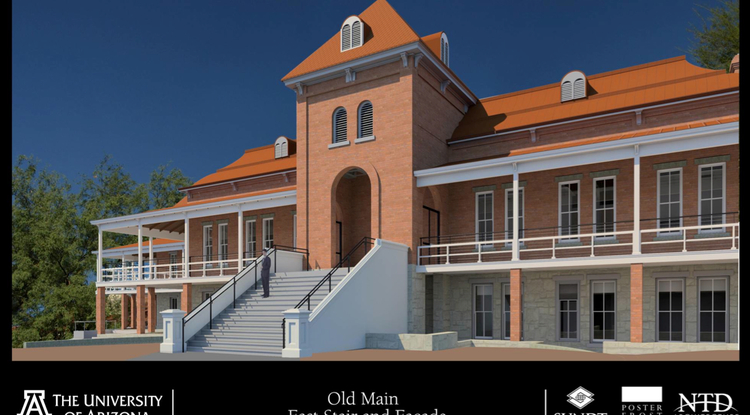 A $13.5 million fundraising campaign is underway to renovate and restore Old Main. The team at the Tucson-based Poster Frost Mirto, Inc. is at the fore of designing the new look and feel of Old Main while retaining its historic features. (Rendering photo courtesy of Poster Frost Mirto, Inc.)