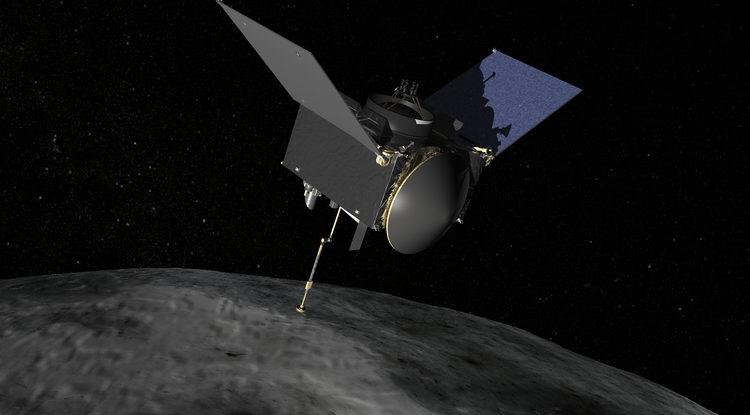 Artist's concept of NASA's OSIRIS-REx spacecraft preparing to take a sample from asteroid Bennu. The UA leads the OSIRIS-REx mission, NASA's Goddard Space Flight Center provides project management, and Lockheed Martin builds the sampling mechanism and spacecraft. (Image: NASA/Goddard)