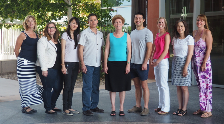 Members of the turmeric and rheumatoid arthritis research team (from left): staffer Susan Whitman, graduate student Laura Hopkins, graduate student Julia Cheng, professor Dean Billheimer, Dr. Janet Funk, graduate student Andrew Kunihiro, assistant professor Allison Hopkins, professor Sherry Crow and staffer Jen Frye.