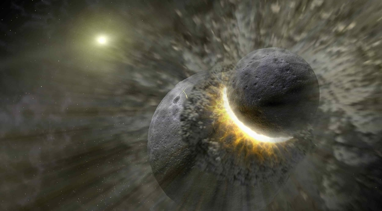 The inner solar system's biggest known collision was the moon-forming giant impact between a large protoplanet and the proto-Earth. Kilometer-size fragments from this impact hit main belt asteroids at much higher velocities than typical main belt collisions, heating the surface and leaving behind a permanent record of the impact event. (Illustration: NASA/JPL-Caltech)