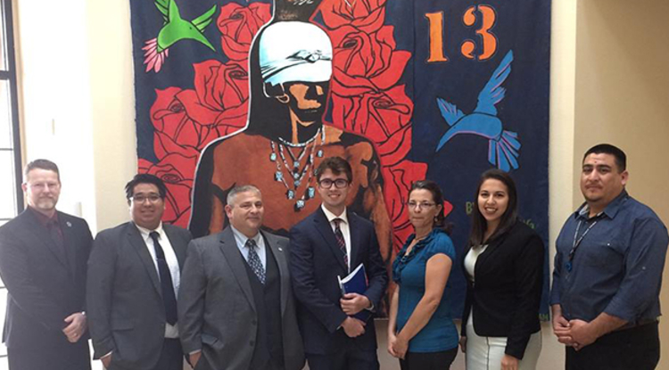 UA law students (from left) Donald Walton, Pete Sabori, Garrett Holm, Logan Cooper, Christina Rinnert and Alexis Zendejas met with Daniel Vega, director of language and culture for the Pascua Yaqui Tribe.