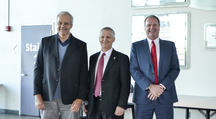 From left: Paulo Goes, new dean of the Eller College of Management; UA Provost Andrew Comrie; and Jeff Schatzberg, interim Eller dean. (Photo: Yvette Anchondo-Leyva)