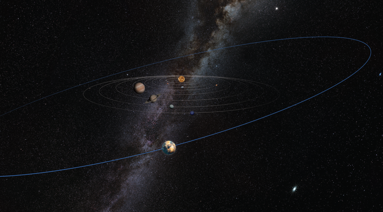 "A yet to be discovered, unseen ""planetary mass object"" makes its existence known by ruffling the orbital plane of distant Kuiper Belt objects, according to research by Kat Volk and Renu Malhotra of the UA's Lunar and Planetary Laboratory. The object is pictured on a wide orbit far beyond Pluto in this artist's illustration. (Image: Heather Roper/LPL)"