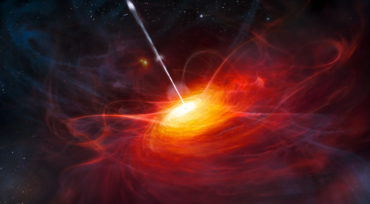 An artist's impression of a very distant quasar powered by a black hole with a mass 2 billion times that of the sun (Credit: ESO/M. Kornmesser)