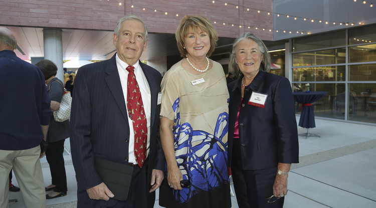 UA President Ann Weaver Hart (center) with Bruce and Patricia Bartlett (Photo: David Sanders/UA Foundation)