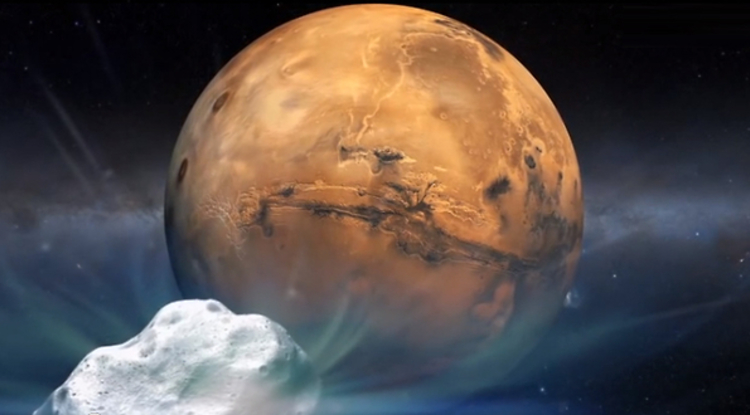 Siding Spring will approach Mars closer than any comet of its type has passed Earth in recorded history. (Artist's impression: NASA)