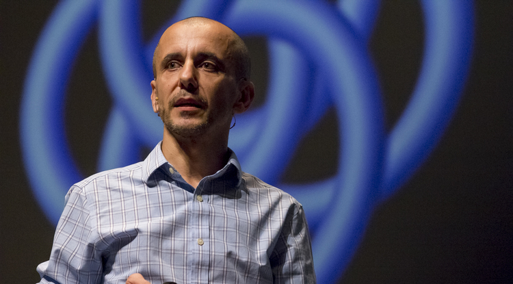Computer scientist Mihai Surdeanu speaks at the College of Science lecture series in Centennial Hall. (Photo: Bob Demers/UANews)