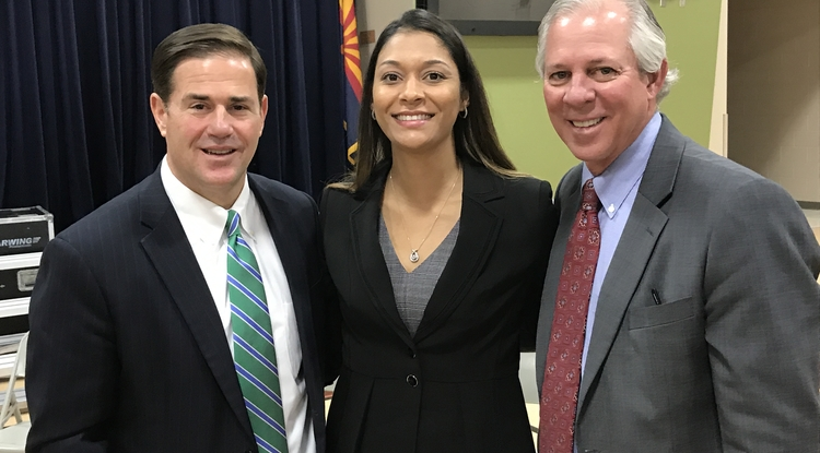 Arizona Gov. Doug Ducey (left), UA student Charisse White and UA President Robert C. Robbins were on hand for the formal announcement of the Arizona Teachers Academy. (Photo courtesy of Arizona Board of Regents)