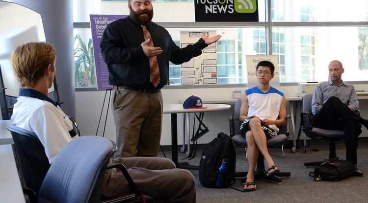Topher Hatton, a UA pre-business junior, discusses his online business idea during Pitch McGuire, launched by the McGuire Center of Entrepreneurship this fall.