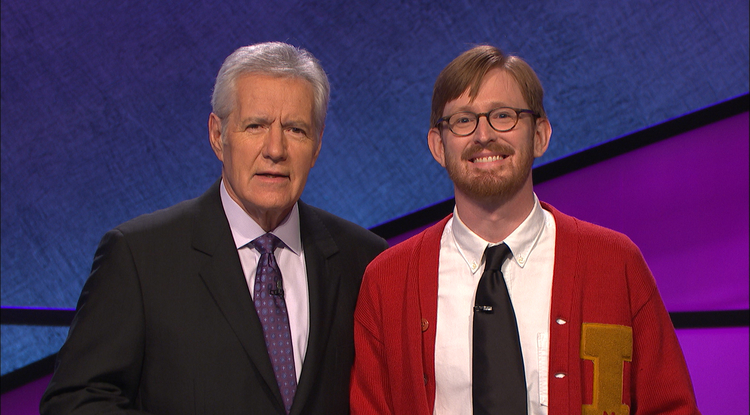 Alex Trebek with UA faculty member Tucker Dunn. (Photo courtesy of Jeopardy Productions Inc.)