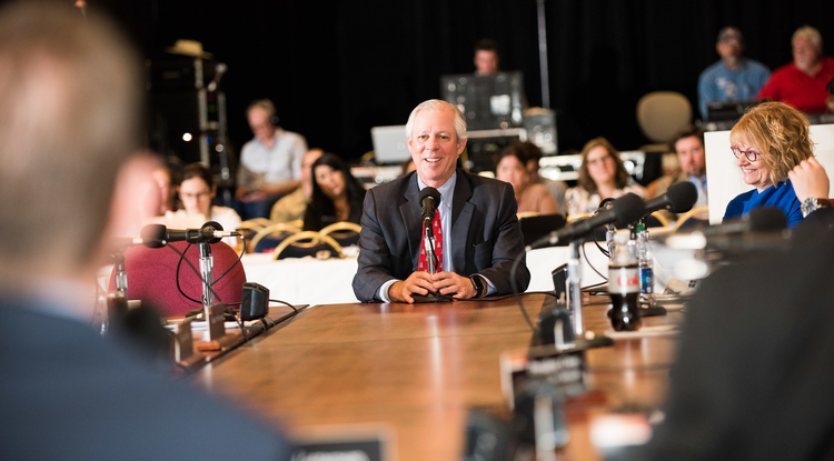 Dr. Robert C. Robbins addresses the Arizona Board of Regents, which approved a three-year contract for him as the next UA president. (Photo: Jacob Chinn)