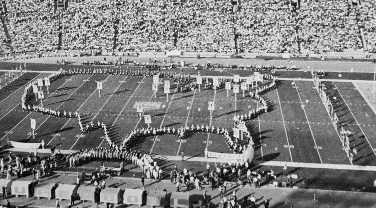 The UA band marched into its iconic U.S. map formation at the first Super Bowl halftime show in 1967.