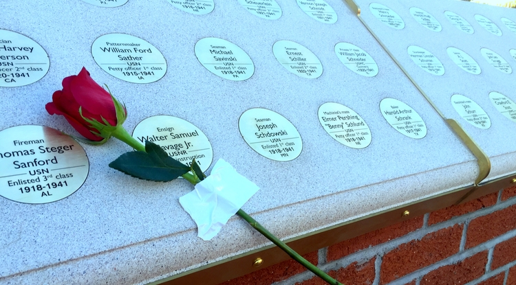 The USS Arizona Mall Memorial traces a full-scale outline of the ship's deck and includes a brick plaza with 1,177 inscribed bronze medallions honoring the ship's sailors and Marines who died in the Dec. 7, 1941, bombing of Pearl Harbor. (Photo: La Monica Everett-Haynes/UANews)