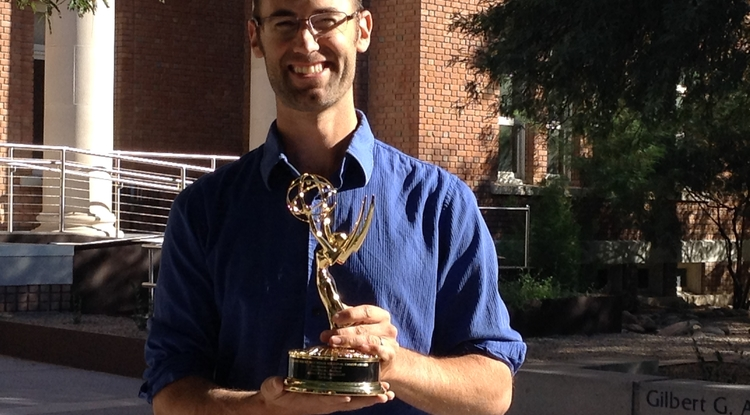 """Cody Sheehy was honored for his creative effort as video coordinator of """"Earthlight."""""""