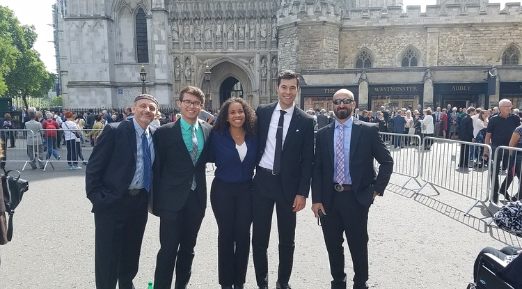 From left to right: Ken McAllister, Jacob Nathaniel Brown, Onieda Hudson, Carlos Weiler and Judd Ruggill attended the formal Service of Thanksgiving for Stephen Hawking at London's famous Westminster Abbey. (Courtesy of Ken McAllister)