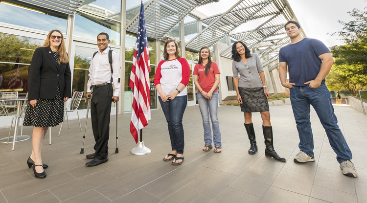 From left: Law fellow Lori Lewis, veteran and UA student Erick Hernandez, students Amanda Ehredt and Zoey Kotzambasis, VALC director Kristine Huskey, and veteran and student Nick Hamilton (Photo: Drew Bourland/UA News)