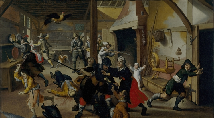"""Soldiers Plundering a Farm,"" by Sebatian Vrancx, 1620"