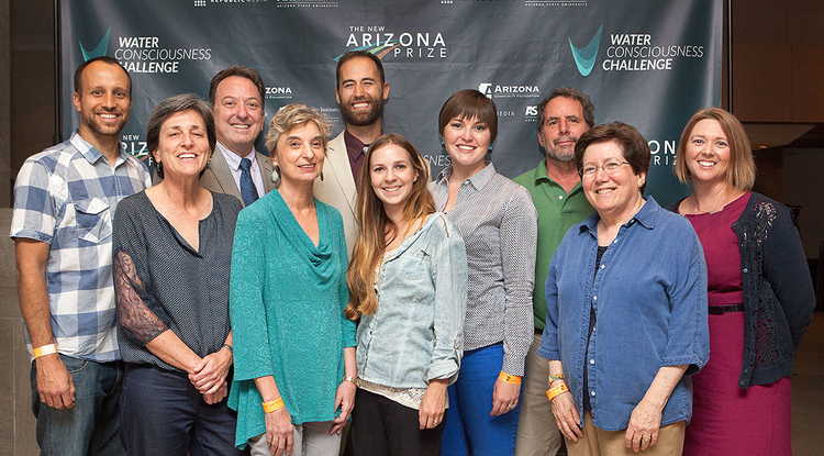 "The ""Beyond the Mirage"" team included (from left): J.D. Gibbs, Kerry Schwartz, John Booth, Susanna Eden, Cody Sheehy, Jatta Sheehy, Brittany Xiu, Dave Bogner, Sharon Megdal and Meg Hagyard. (Photo: Arizona Community Foundation)"