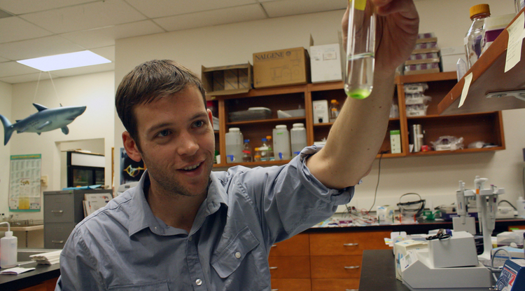 William Driscoll with a vial of algae (not the cheating kind) in the lab. (Photo: Beatriz Verdugo/UANews)