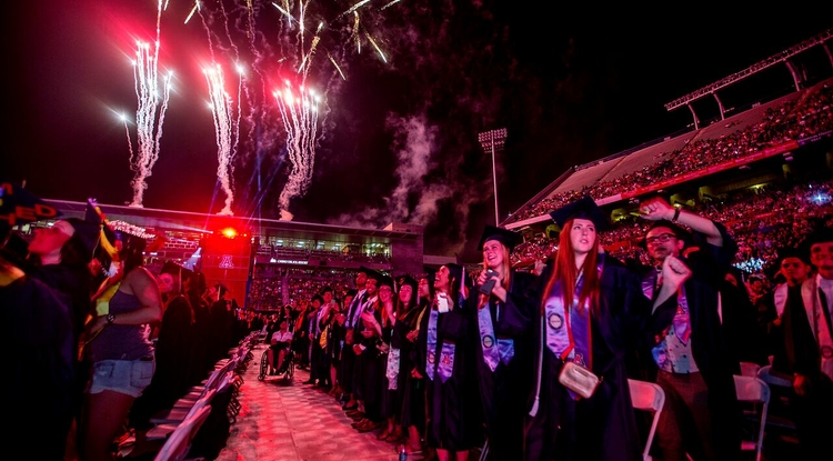 The UA will celebrate the achievement of thousands of graduating students on Friday. If you can't attend the event, it will be streamed live by Arizona Public Media. (Photo: John de Dios/UANews)