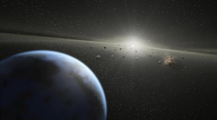 asteroids in space (artist's impression)