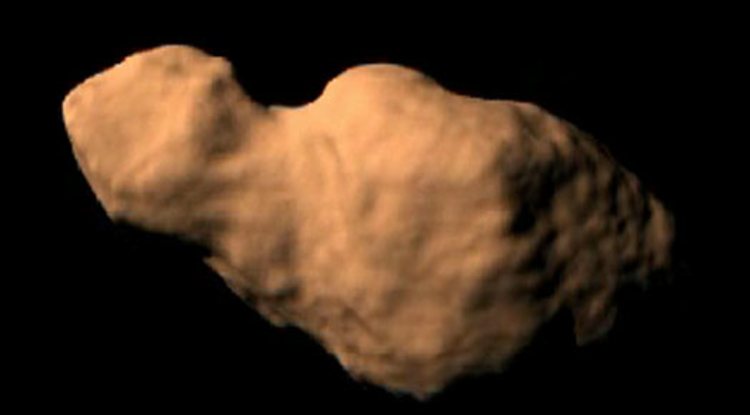 This picture shows what an artist thinks Toutatis might look like. Image courtesy Steve Ostro, NASA/JPL.