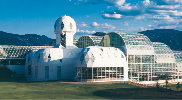 UA's Biosphere 2 contains various ecosystems sealed in a steel and glass structure. The dome encloses approximately 7.2 million cubic feet of space and covers 3.14 acres.