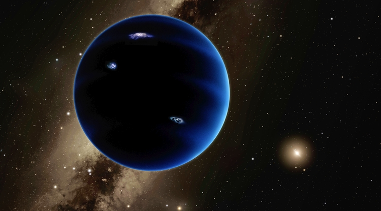 An artist's illustration of Planet Nine, a hypothesized Neptune-size planet orbiting in the distant reaches of our solar system (Illustration: Robert Hurt/Caltech)
