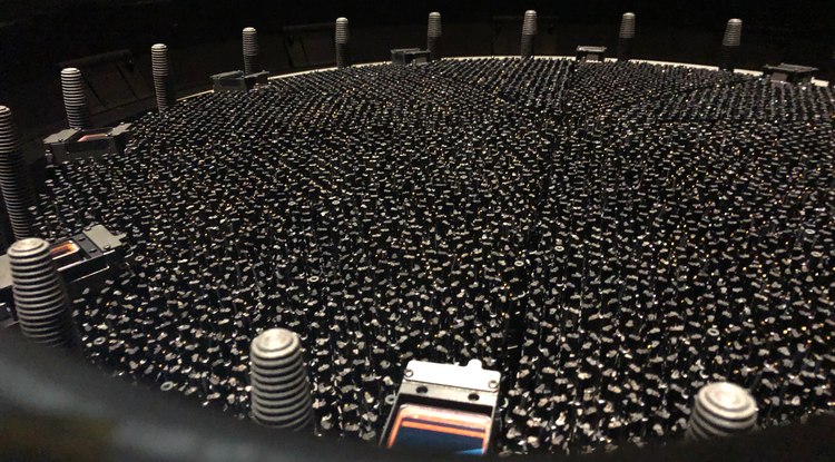 DESI's fully installed focal plane features 5,000 automated robotic positioners, each carrying a fiber-optic cable to gather galaxies' light. (Photo: DESI Collaboration)