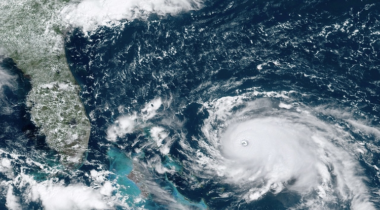 A National Oceanic and Atmospheric Administration GOES-16 satellite image of Hurricane Dorian over the Atlantic Ocean in August 2019. The hurricane eventually reached Category 5 status. (Image: NOAA, GOES 16)