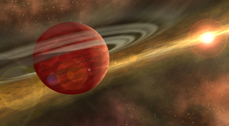 This is an artist's conception of a young planet in a distant orbit around its host star. The star still harbors a debris disk, remnant material from star and planet formation, interior to the planet's orbit (similar to the HD106906 system). (Image courtesy NASA/JPL-Caltech)